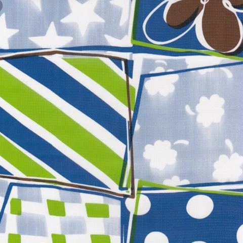 Blue Quilt Oilcloth Fabric