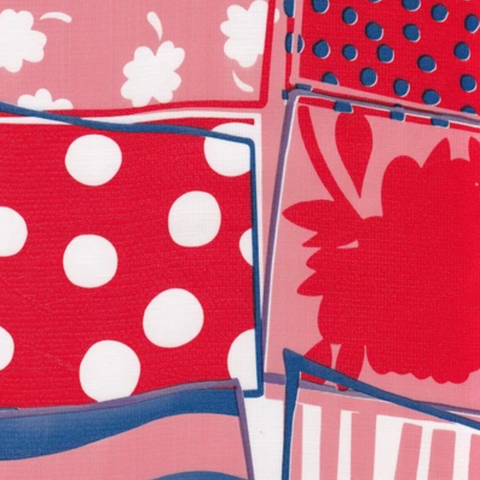 Red Quilt Oilcloth Fabric