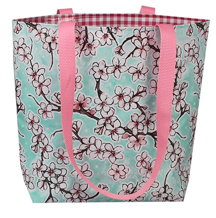Reversible Oilcloth Totebag - Seafoam Cherry Blossom with Pink Gingham