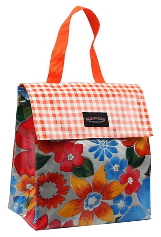 Oilcloth Insulated Lunch Bag - Silver Flora