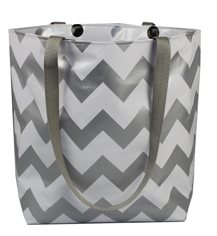 Reversible Oilcloth Totebag - Silver Chevron with Black Confetti