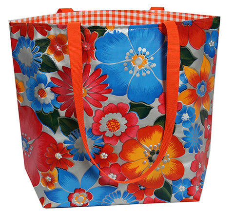 Reversible Oilcloth Totebag - Silver Flora with Orange Gingham