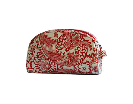 Red and White Toile Oilcloth Cosmetic Bag- Small