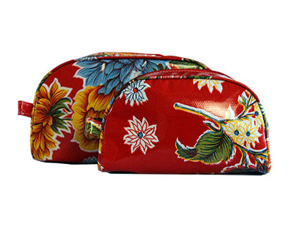 Red Mums Oilcloth Cosmetic Bag Collection
