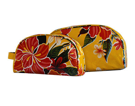 Yellow Hibiscus Oilcloth Cosmetic Bag Collection