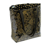 Reversible Oilcloth Totebag - Gold on Black Toile