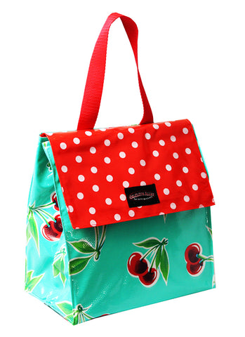 Oilcloth Insulated Lunch Bag - Turquoise Cherry