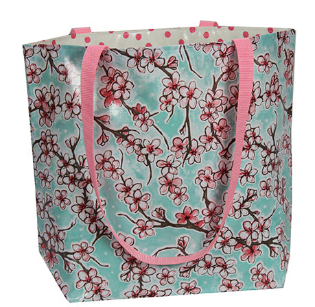 Reversible Oilcloth Totebag - Seafoam Cherry Blossom with Pink Polka