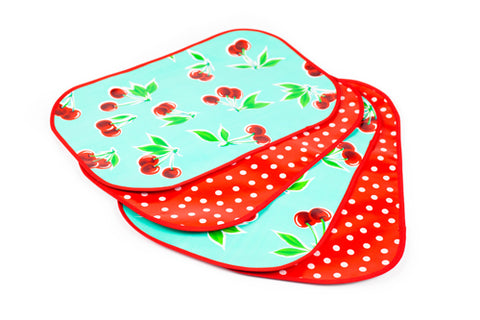 Turquoise Cherry Reversible Oilcloth Placemats - set of 4
