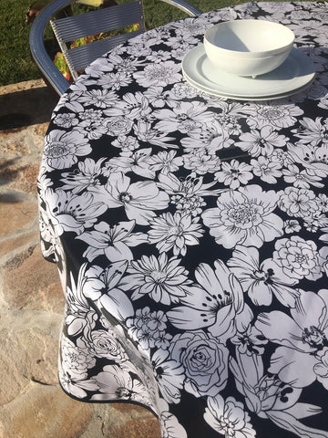 Round Black Chantilly Oilcloth Tablecloth