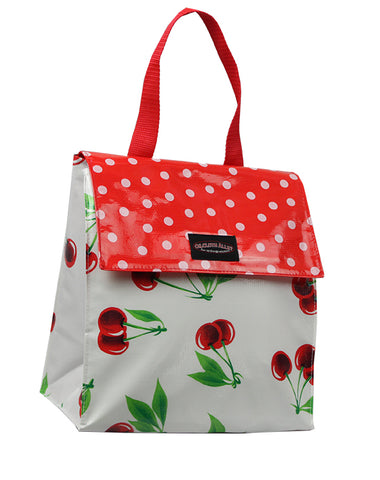 Oilcloth Insulated Lunch Bag - White Cherry