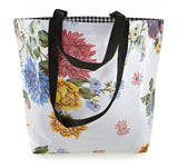 Reversible Oilcloth Totebag - White Mums