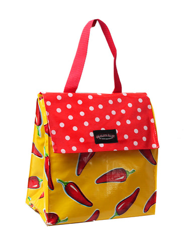 Oilcloth Insulated Lunch Bag - Yellow Chilis