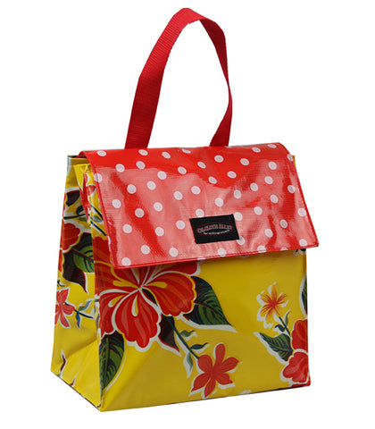 Oilcloth Insulated Lunch Bag - Yellow Hibiscus