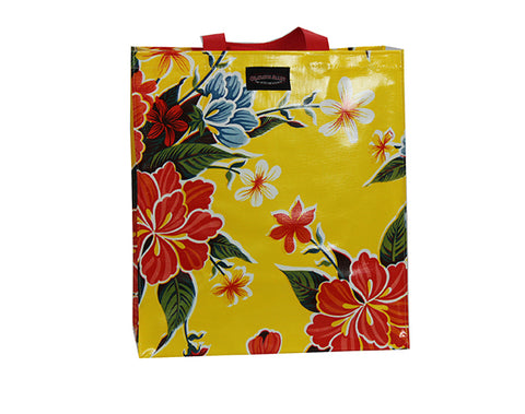 Oilcloth Shopping Bag - Yellow Hibiscus