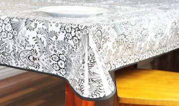 "Black And White Toile Oilcloth Tablecloth 84"" x 47"""