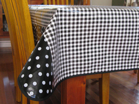 "Black Gingham Oilcloth Tablecloth 84"" x 56"""