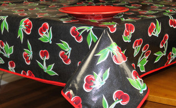 "Black Cherry Oilcloth Tablecloth 84"" x 47"""