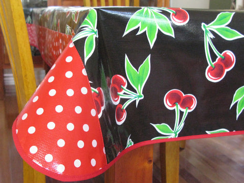 "Black Cherry Oilcloth Tablecloth 84"" x 56"""