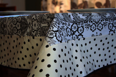 "Black Toile And Polka Tablecloth 84"" x 56"""
