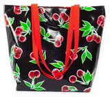 Reversible Oilcloth Totebag - Black Cherry