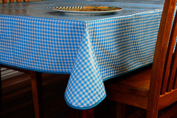 "Blue Check Oilcloth Tablecloth 84"" x 47"""