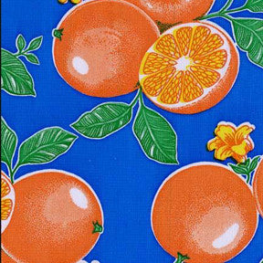 Oranges on Blue Oilcloth Fabric