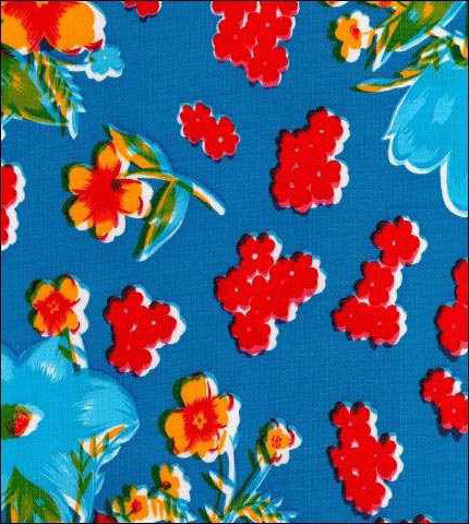 Blue Vintage Flower Oilcloth Fabric