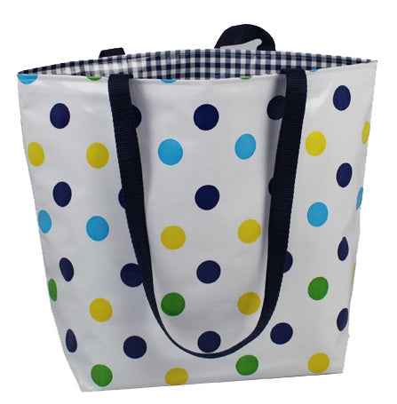 Reversible Oilcloth Totebag - Blue Confetti with Blue Gingham