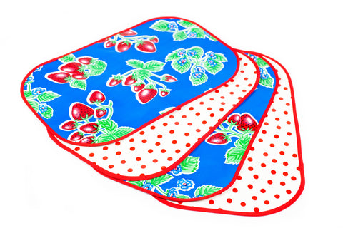 Blue Strawberry Reversible Oilcloth Placemats - set of 4