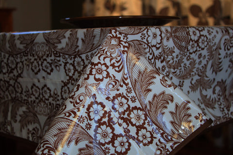 "Brown Toile Oilcloth Tablecloth 84"" x 56"""