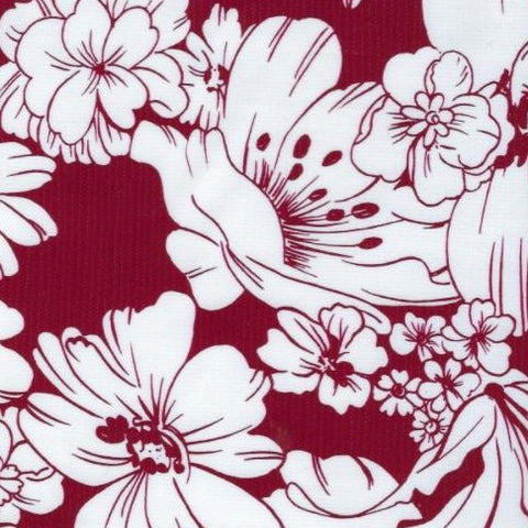 Burgundy Chantilly Oilcloth Fabric