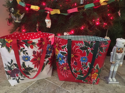 Large Reversible Oilcloth Christmas Totebags - Red or White