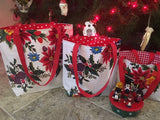 White Vintage Christmas Reversible Totebags - Small, Medium, Large