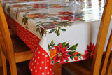 "84"" x 56"" White Vintage Christmas Oilcloth Tablecloth"