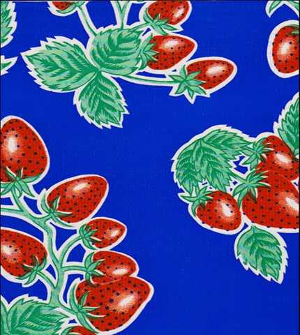 Royal Blue Strawberry Oilcloth Fabric