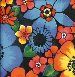 Flora on Black Oilcloth Fabric