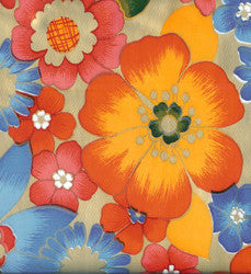 Flora on Gold Oilcloth Fabric