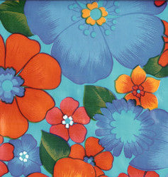 Flora on Light Blue Oilcloth Fabric