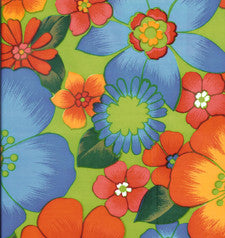 Flora on Lime Green Oilcloth Fabric
