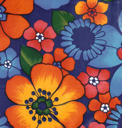 Flora on Navy Blue Oilcloth Fabric