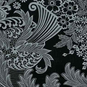 Gray and Black Toile Oilcloth Fabric