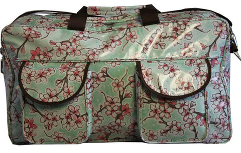 Oilcloth Weekender Bag - Gray Cherry Blossom