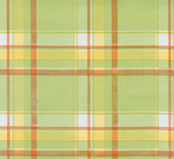 Lime Green and Orange Tartan Oilcloth Fabric