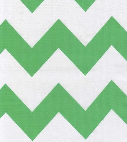 Green Chevron Oilcloth By The Yard
