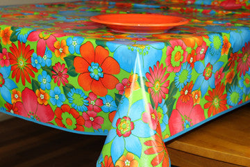 "Lime Green Flora Oilcloth Tablecloth 84"" x 47"""