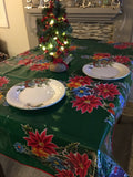 Green Vintage Christmas Oilcloth Fabric