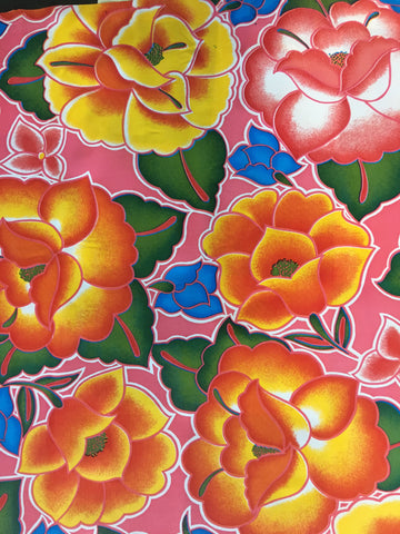 Pink Royal Roses Oilcloth Fabric