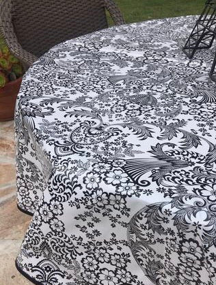 Round Black and White Toile Oilcloth Tablecloth