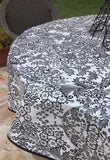 Black and White Toile Oilcloth Fabric